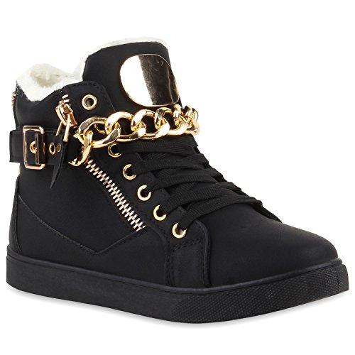 e28f3eec910558 Warm Gefütterte Damen Sneakers High Ketten Winter Schuhe 110065 Schwarz 38
