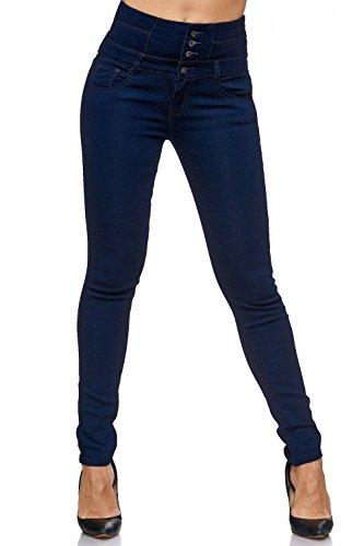 Damen Jeans Hose Straight Leg Gerades Bein Dicke Naht DA 12923, Größe:XXL (Herstellergröße 44), Farbe:Dunkelblau